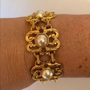 Ben-Amun 'Rare'Gold Pearl Link Statement Bracelet